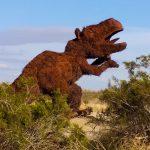 Metal Sky Art T Rex Dinosaur Sculpture in Borrego Springs